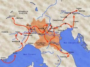 movimento dell'esercito napoleonico nel 1796-97