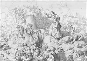 Come già in molte altre disperate circostanze, anche le donne di Candia aiutano gli uomini a difendere le mura ormai gravemente danneggiate.