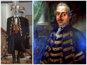 divisa da comandante della Marinarezza e ritratto di Viscovich, ammiraglio che pronunciò il celebre discorso di addio algonfalone.