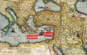 Le due isole maggiori in possesso dei veneziani nel 1570. In giallo i territori ottomani che le circondano.