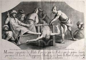 Martirio di Paolo Erizzo, disegnato da Silvestro Manaigo e inciso da Andrea Zucchi sulla base del dipinto di Pietro Longhi