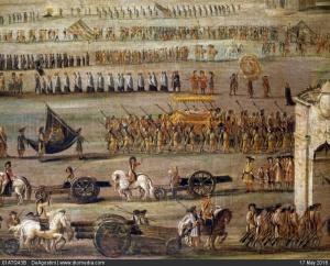 01ATQ43B; The funeral of Doge Francesco Morosini (1619-1694) in Nafplion, 1702, painting by Alessandro Piazza (active from 18th century), oil on canvas. Detail.