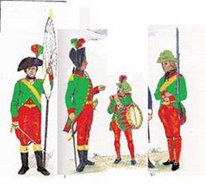 ricostruzione delle uniformi ultime in base alla descrizione dello storico locale mons. Bonato