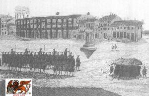 Infanteria Veneta in piazza Bra verona, stampa del 1780