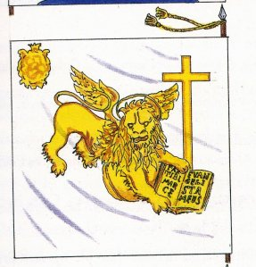 BANDIERA DI UN REGGIMENTO DI FANTERIA fine 700 Da un quadro di Spiridione Zerbini del 1783 Disegno di Francesco Paolo Favaloro