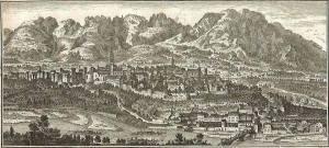 da web: Tommaso Salomon veduta di Belluno ai tempi della Serenissima Repubblica 1750. All'epoca. Cividal di Bellun, così si chiamava.