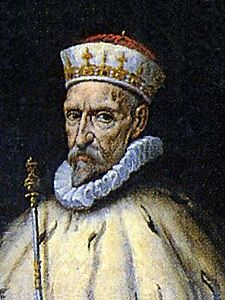 Agostino Doria, col particolare berretto e scettro
