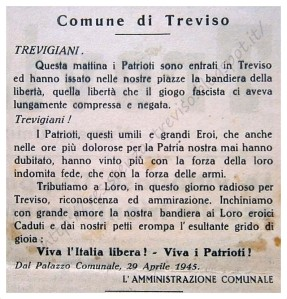 """Omaggio ai partigiani ''questi umili grandi eroi"""" - comune di Treviso, 29 aprile 1945"""