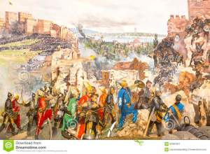 fall-constantinople-istanbul-turkey-october-captured-mehmet-panorama-museum-military-istanbul-turke-62964301