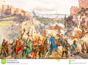 fall-constantinople-istanbul-turkey-october-captured-mehmet-panorama-museum-military-istanbul-turke-62964301